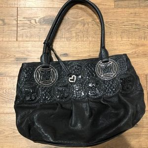 Brighton black leather purse with flower detail